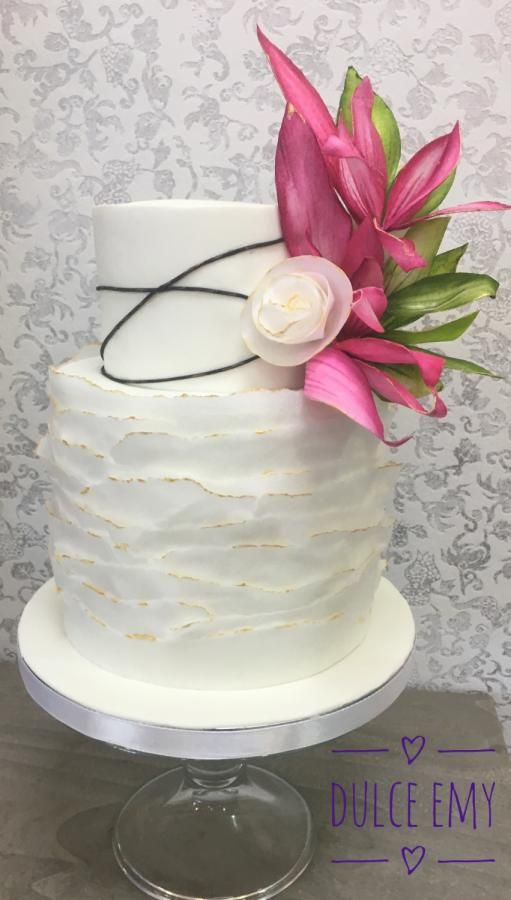 Wedding wafer paper cake by Emy - http://cakesdecor.com/cakes/281513-wedding-wafer-paper-cake