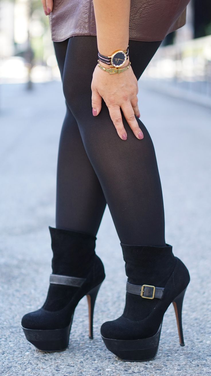 Leather Skirt OOTD with tights and boots now on the blog... | My DIY u0026 Fashion Looks | Pinterest ...