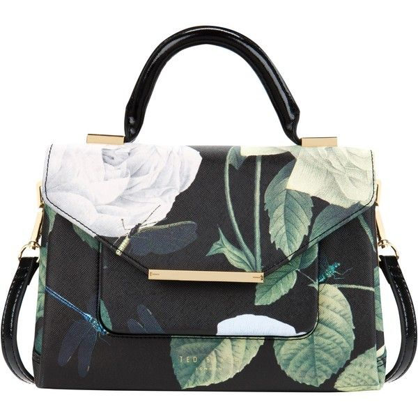 Ted Baker Domina Crosshatch Lady Bag , Black ($120) ❤ liked on Polyvore featuring bags, handbags, tote bags, borse, purses, bolsas, black, floral tote bag, ted baker handbags and ted baker