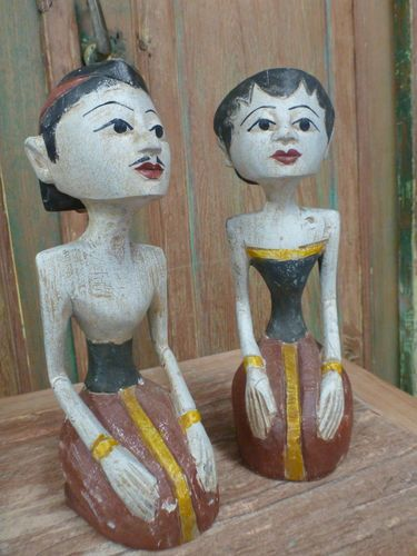 Balinese Hand Carved Timber Traditional Loro Blonyo Statue Sculpture Set of 2 1A