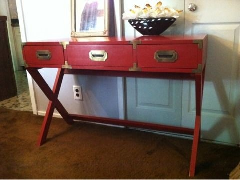 Dusty Red Campaign Console Table.