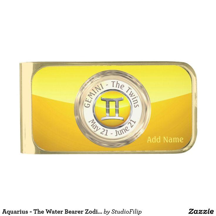 Aquarius the water bearer zodiac sign gold finish money