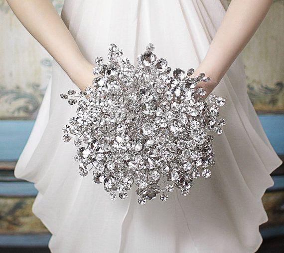 Bridal Bouquet of Beautiful Silver Flower Combination Mirrored Beads - Wedding Bouquet - Fabulous Brooch Bouquet Alternative