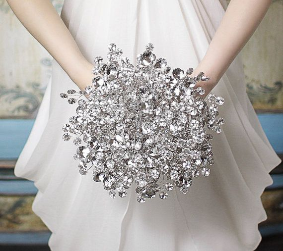 Wedding Bouquet Crystal Flowers: The Duo Mirrored Bridal Bouquet With