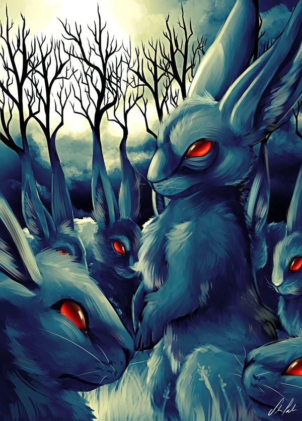 evil cartoon bunny - 600×835