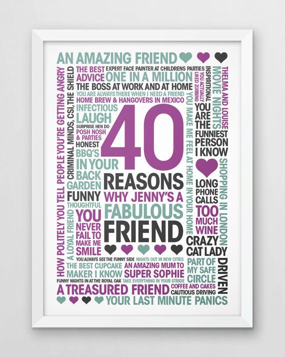 Birthday Print friends 40th 40 Reasons best friend by YoungidArt