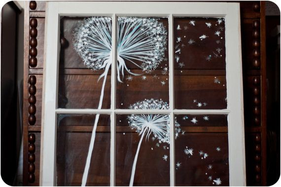 Lovely Vintage Window Painting dandelion by audreygracephoto, $125.00