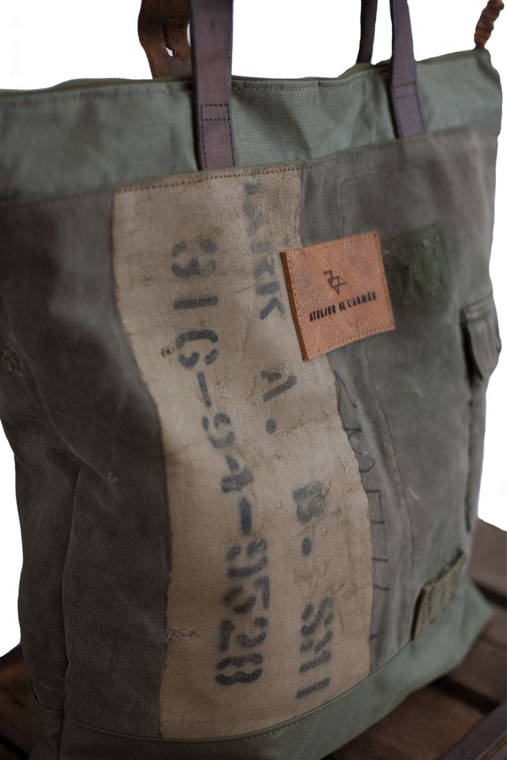 Atelier de l'Armée handmade Bag065, made out of an US army vietnam era duffel…