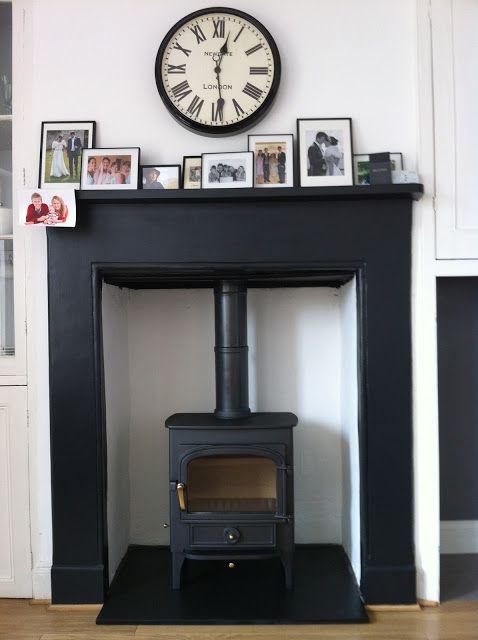 Wood burning stove black fireplace surround