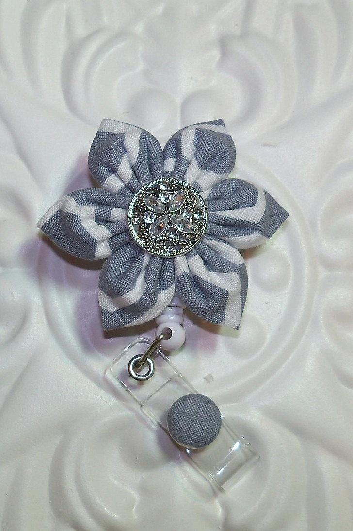 Retractable Badge Holder ID Badge Reel Flower Light by belleadees, $8.50