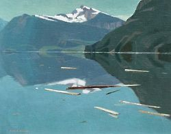 Alan Caswell Collier (Canadian, 1911-1990), Quiet Buttle Lake. Oil on board, 16 x 20 in.