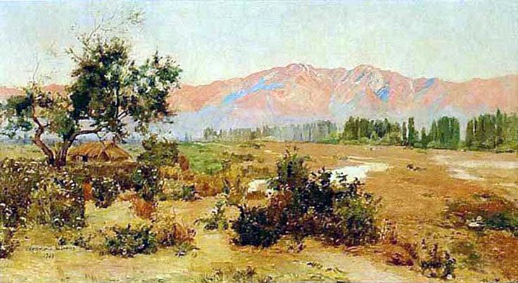 "Alberto Valenzuela Llanos (Chile, 1856-1909)  ""Paisaje con Cordillera"""