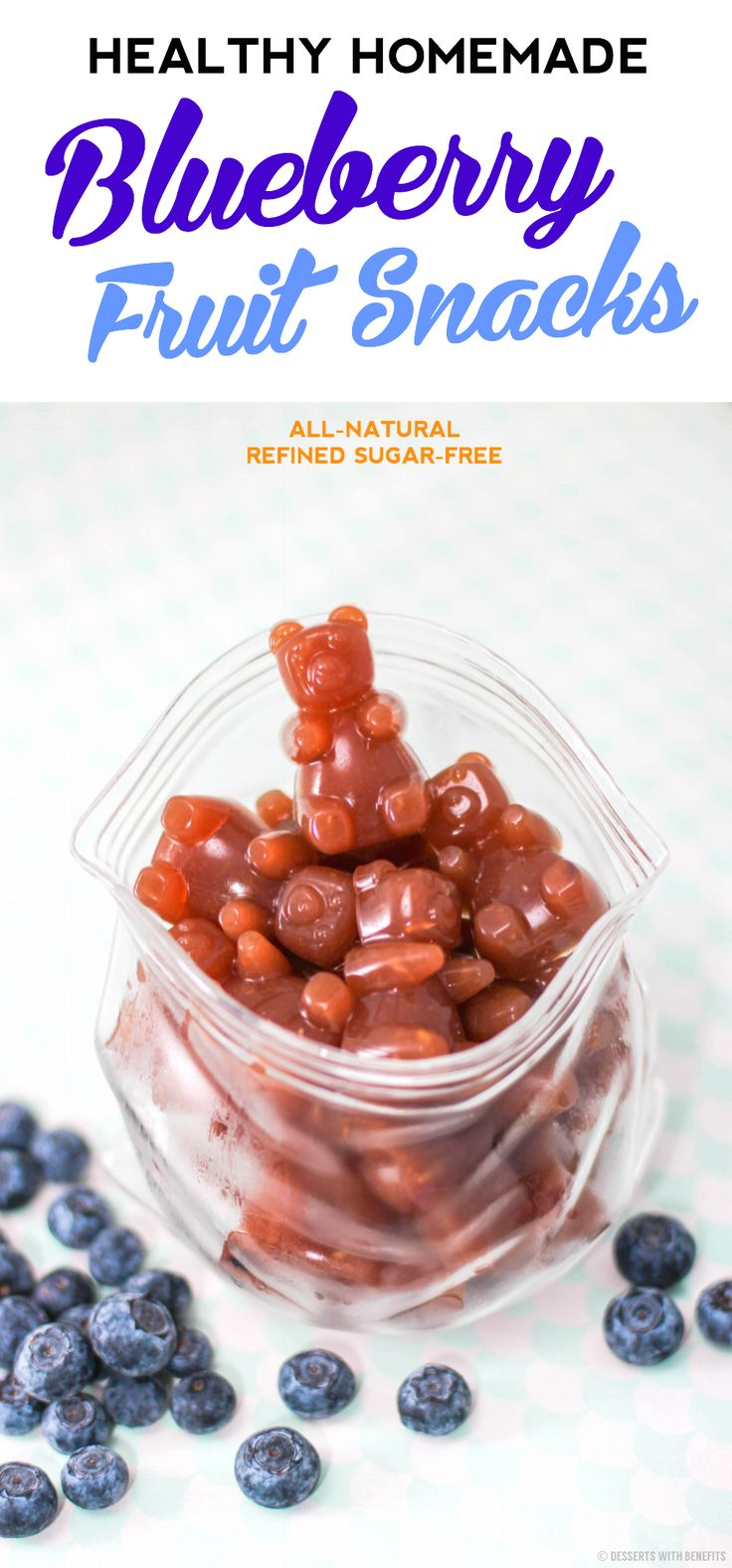 Healthy Homemade Blueberry Fruit Snacks! Just like Welch's but without the sugar, high-fructose corn syrup and artificial food coloring!  [all natural, fat free, refined sugar free, gluten free, dairy free]