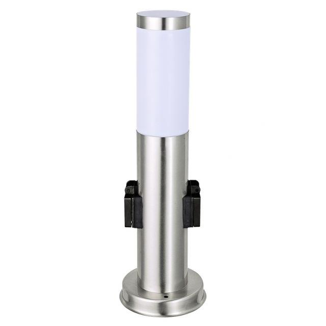 LED Standleuchte 45cm mit Steckdose, Sockelleuchte, Pollerleuchte, Wegleuchte, Edelstahl, Außenleuchte, IP44, E27-230V, (Form:S10S)
