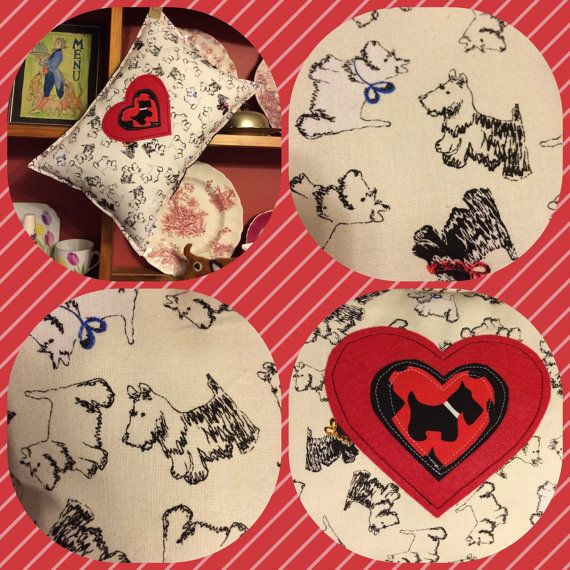 SALE Scottie Dog pillow dog lovers gift Cream decorative