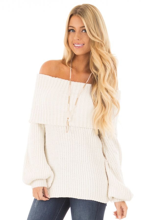 Pearl Ivory Soft and Luxurious Fold Over Sweater front close up