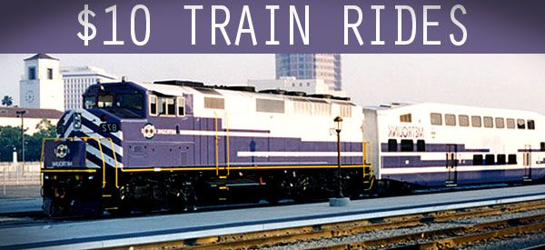 Ride the train with $10 fares anywhere in the So Cal area. Find out how to get this specially marked ticket price as sponsored by Metrolink by...
