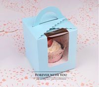 Free shipping blue cupcake paper for bakery food cake packaging 9.4*9.4*11cm
