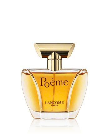 Lancôme; Poême Eau de Parfum Spray 50 ml narcissus, datura, jasmine, mimose, ylang-ylang, orange blossom, freesia, tuberose, mixed with intoxicating Himalayan blue poppy) and bitter, represented by citruses (a combination of  bergamot and mandarin orange). Additional notes such as leather, peach, rose, cedar, amber, tonka bean, musk and vanilla flower are added to confer personality