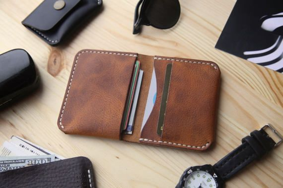 Mens Leather Wallet, Mens Bifold Wallet with 4 Pockets, Horween Derby Leather