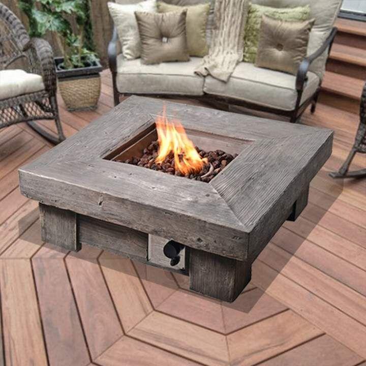 Peaktop Retro Stone Stone Propane Fire Pit Table Propane Fire