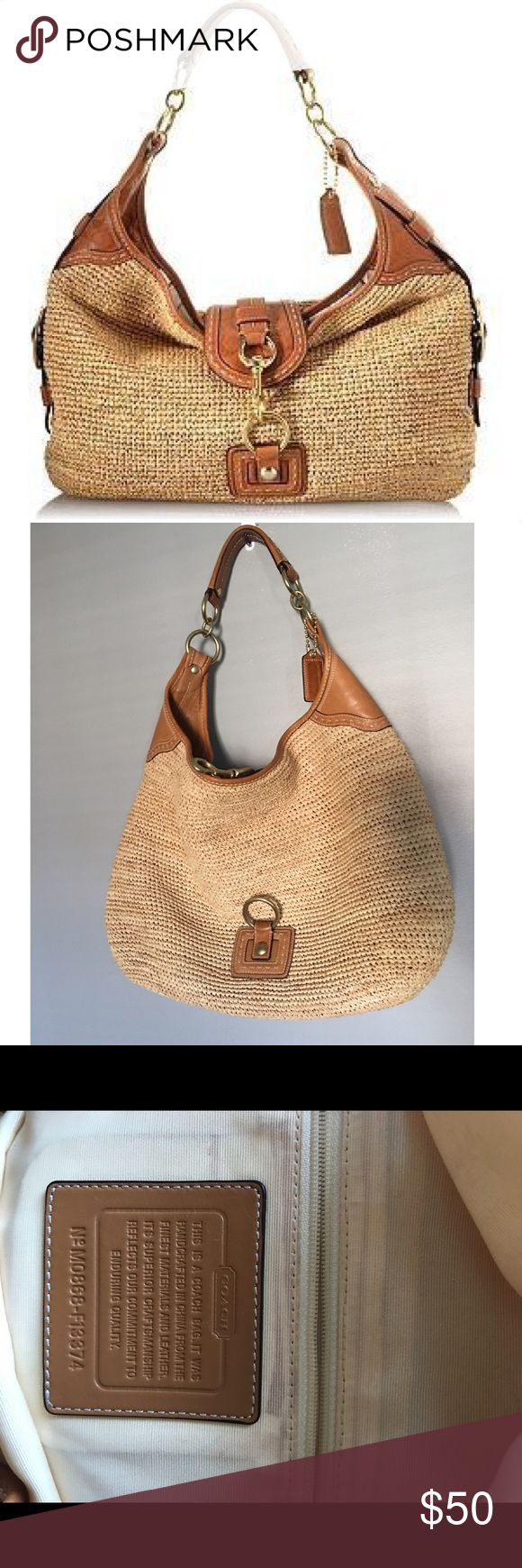 Authentic Oversized Straw Coach hobo bag Authentic Oversized Coach hobo handbag. Leather details on strap. In excellent condition. Coach Bags Hobos