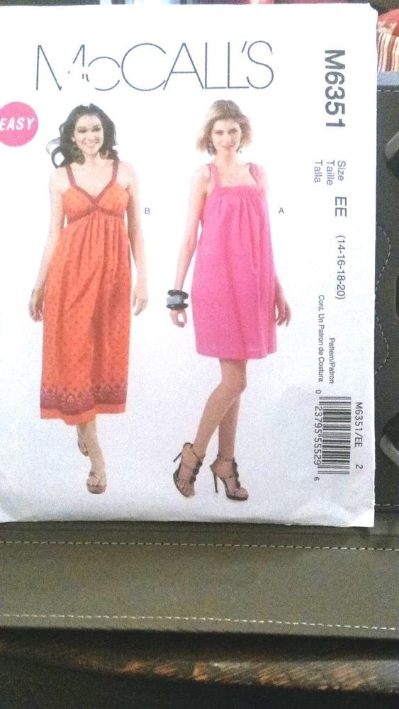 739824664c6 McCall s M6351 Size 14-20 Sundress Size 20 Dress Sewing Pattern Summer Dress