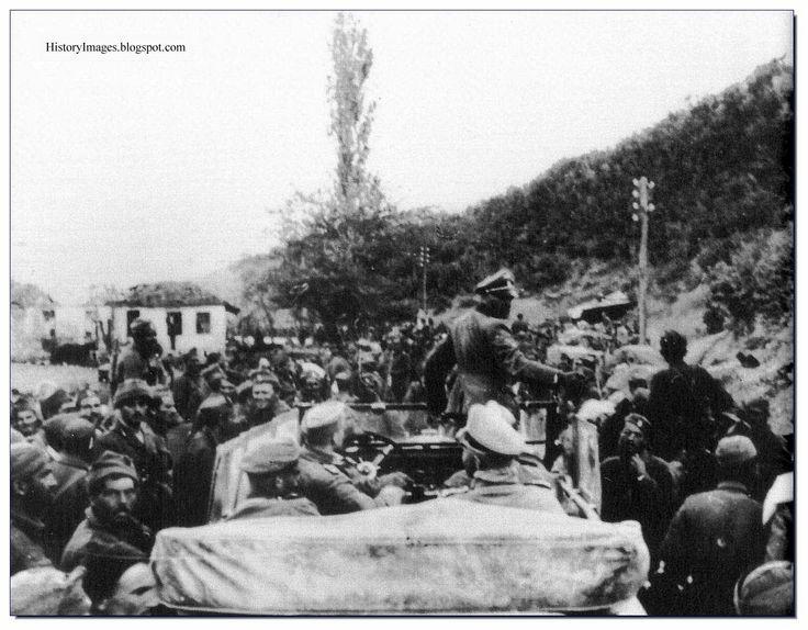 "Occupied Greece. April 1941. Sepp Dietrich of the   1st SS Panzer Division ""Leibstandarte SS Adolf Hitler""  talks to Greek prisoners."