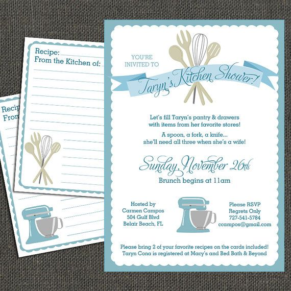 Bridal kitchen shower invitation and by for Bridal kitchen shower ideas