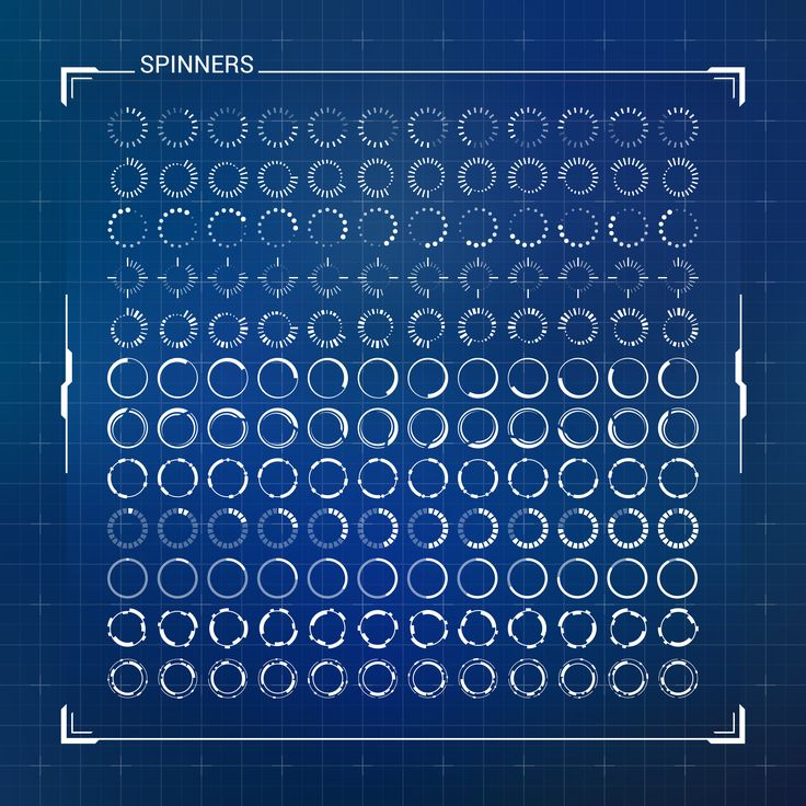Spinners. Big Loading Circles Set. Abstract Modern User Interface