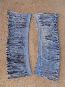 Old jeans make denim yarn. My hubby's jeans are looking like they're ready to be cut up!