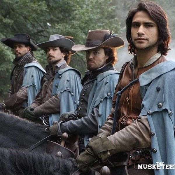 "~ ""The Musketeers"" - Luca Pasqualino, Tom Burke, Santiago Cabrera, and Howard Charles ~ mobile.twitter.com"