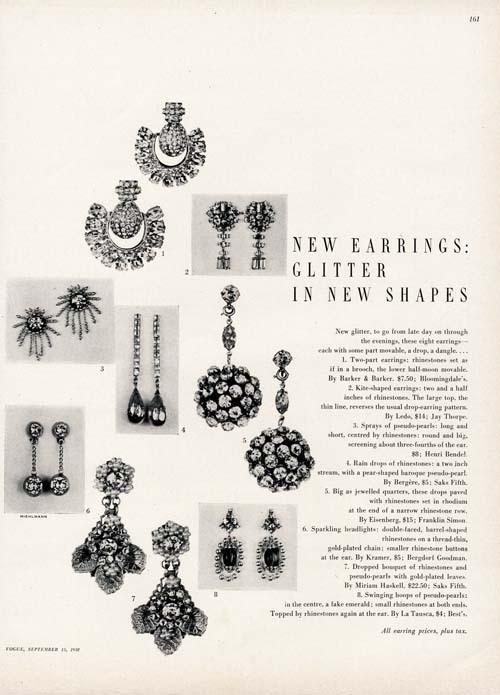 Costume Jewelry Ad 1950 Earrings by Ledo Miriam Haskell Eisenberg Kramer Etc | eBay