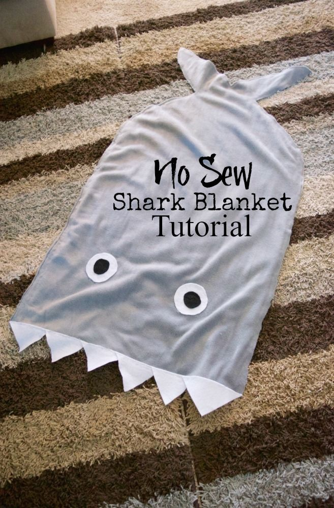 Make your own NO SEW Shark Tail Blanket Tutorial - SO awesome and under $6 and 30 minutes to make!! #nosew #sharkweek #kidscraft #tutorial #frugalgift