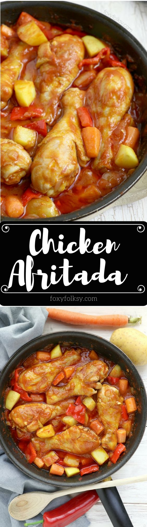 Try this Chicken Afritada recipe. A Filipino chicken stew in tomato sauce with carrots, potatoes and bell peppers. Simply delicious! | www.foxyfolksy.com