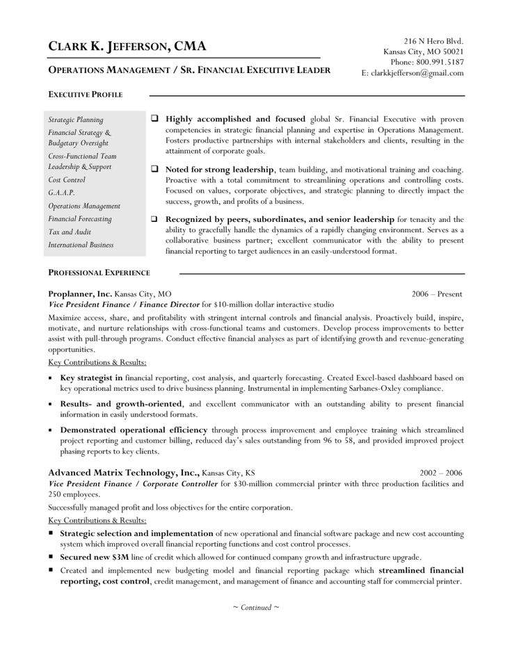 36 best Resumes images on Pinterest Gym, Interview and Learning - financial operations manager sample resume