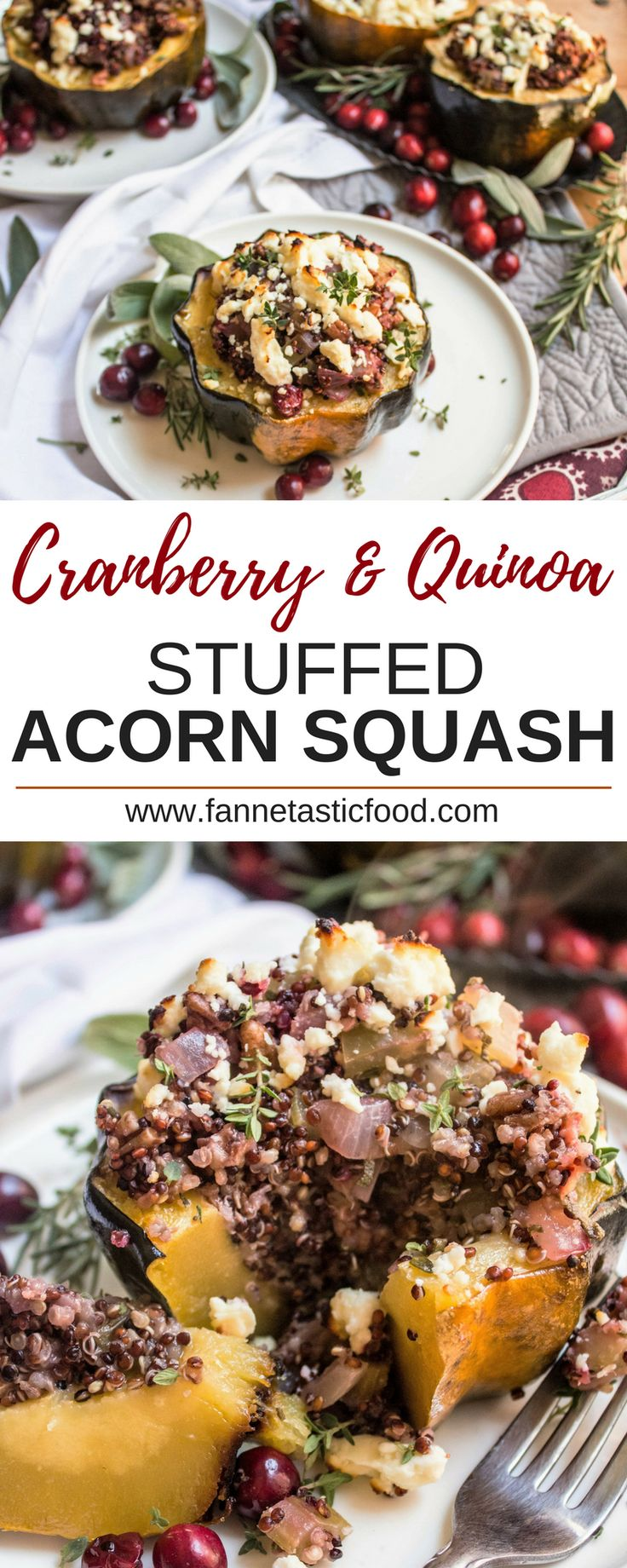 Looking for a unique recipe to add to your Thanksgiving table? This savory Cranberry & Quinoa Stuffed Acorn Squash is hearty and packed with fall flavor! It's great as a vegetarian main dish for Thanksgiving or any other night - plus it's gluten free and easily vegan.  | healthy thanksgiving recipes | vegetarian thanksgiving recipes | easy dinner ideas | vegetarian dinner ideas |