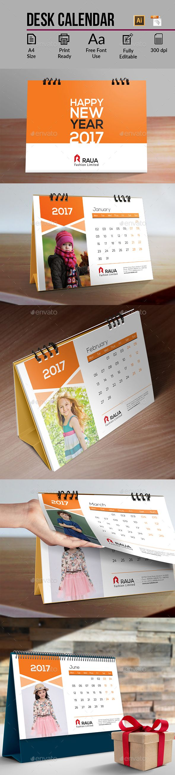 Desk Calendar 2017 Template Vector EPS, AI Illustrator