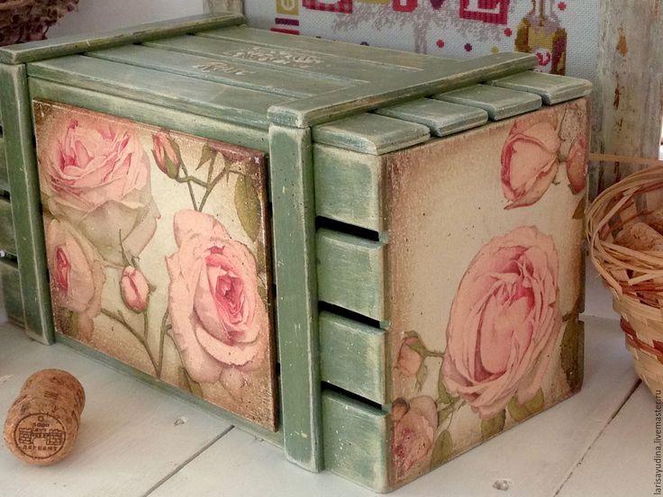 Купить Ящик Прованские Розы - мятный, зеленый, винтаж, винтажный стиль, Декупаж, декупаж работы