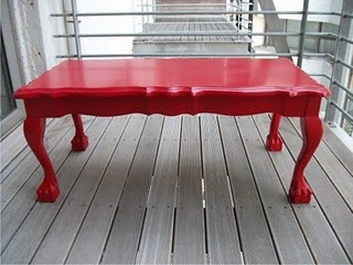 Red paint for our Ball and Claw table