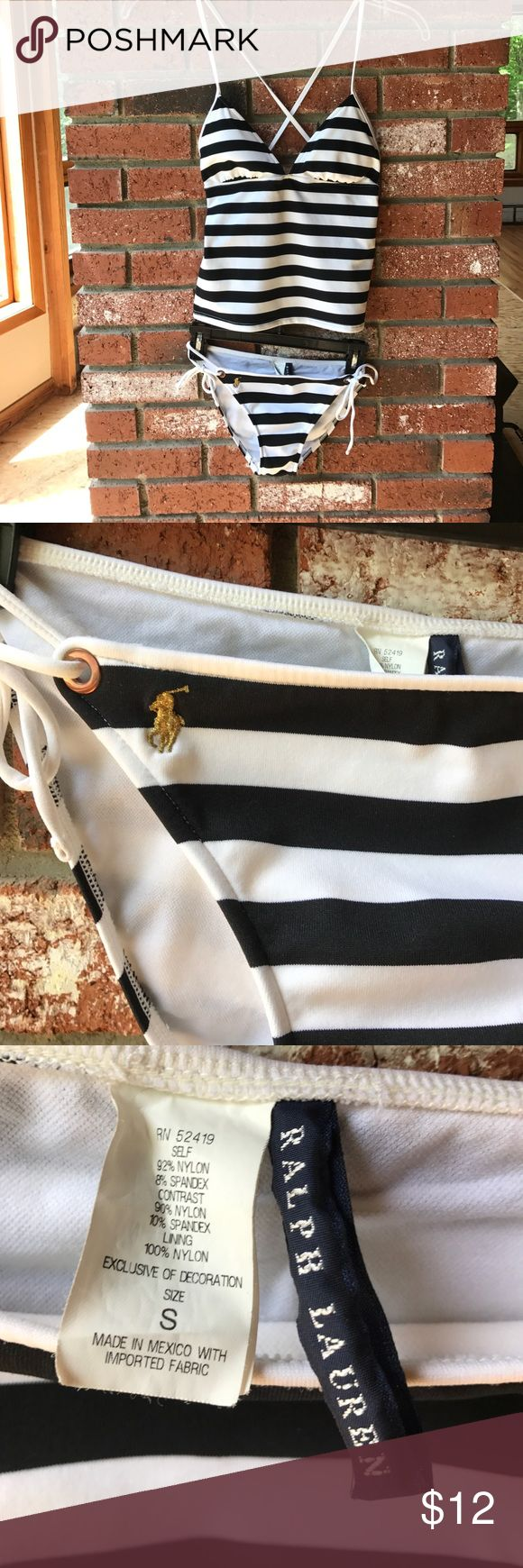 Ralph Lauren 2 piece cami stripe bathing suit S/M Hardly ever worn, no flaws! Selling my 2 piece authentic Ralph Lauren swimsuit - nautical black and white stripes w/ gold pony logo on bottoms. Bottoms are size Small, top is size medium. Cute! Ralph Lauren Swim Bikinis