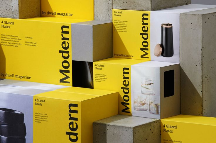 Branding and packaging by New York design studio Collins for product and furniture range Modern by Dwell Magazine, a collaboration with Target.