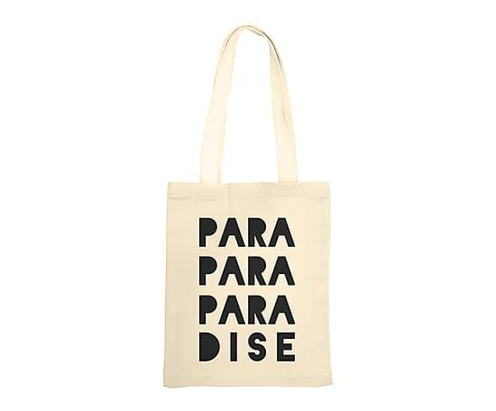 Tote bag PARADISE coton, crème et noir - 41*45