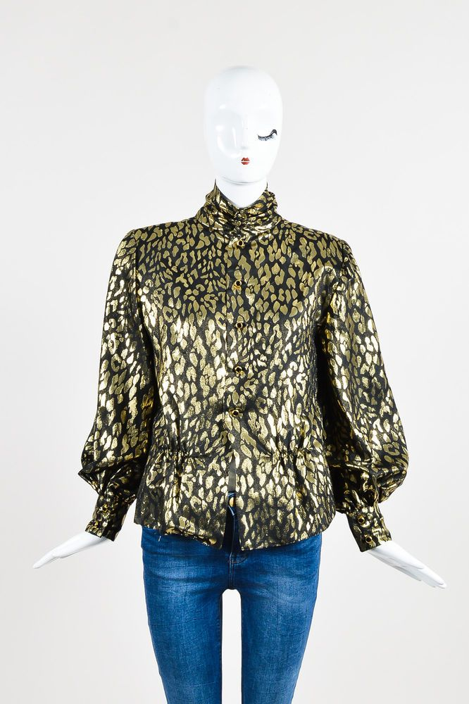VINTAGE Pauline Trigere Gold Metallic/Black Leopard Pattern Peplum Blouse  | eBay