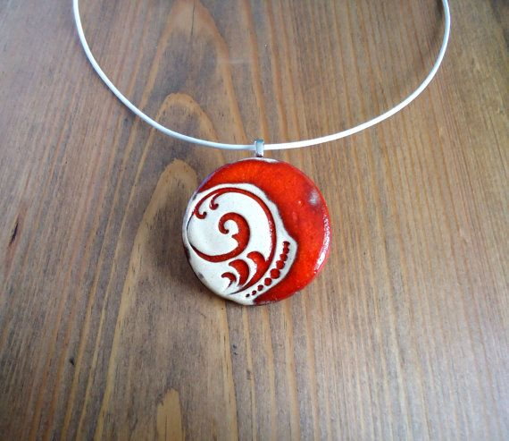 Ceramic leather necklace red vanilla flower pendant by BakGuri
