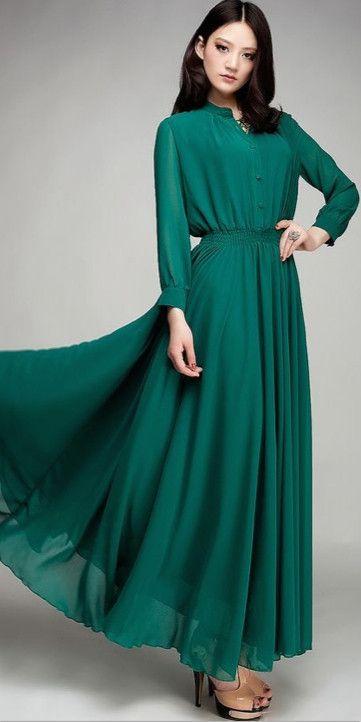 full length sleeve maxi dress | Mode-sty