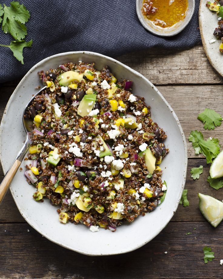 Spicy black bean and fresh corn quinoa with pickled jalapeno and chipotle from the Sun Basket Test Kitchen #vegetarian #glutenfree