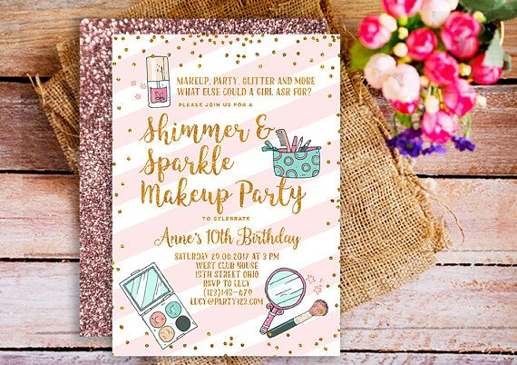 Makeup invitation, makeup birthday party invitation, Printable Makeup Party Girl Birthday Invitation, Makeover Party Invite, Girl Makeup