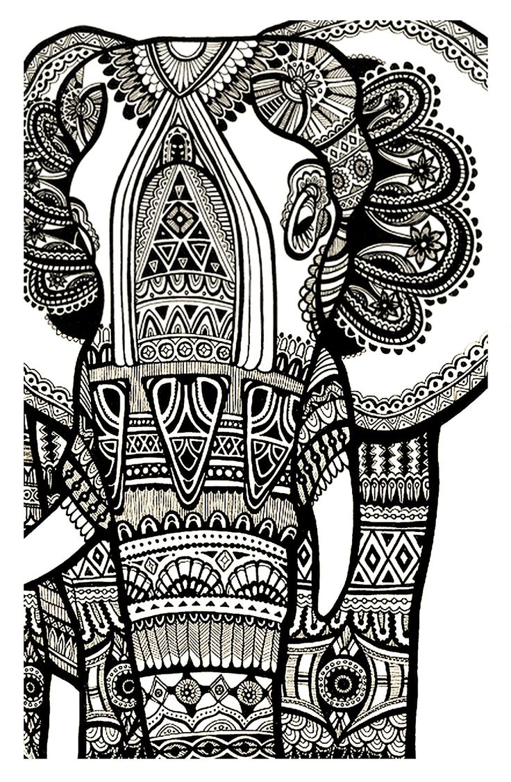 Free coloring pages of peacock feathers coloring everyday printable - Free Coloring Page Coloring Elephant Te Print For Free A Magnificien Elephant Drawn With Zentangle Patterns From Coloring Pages For Adults