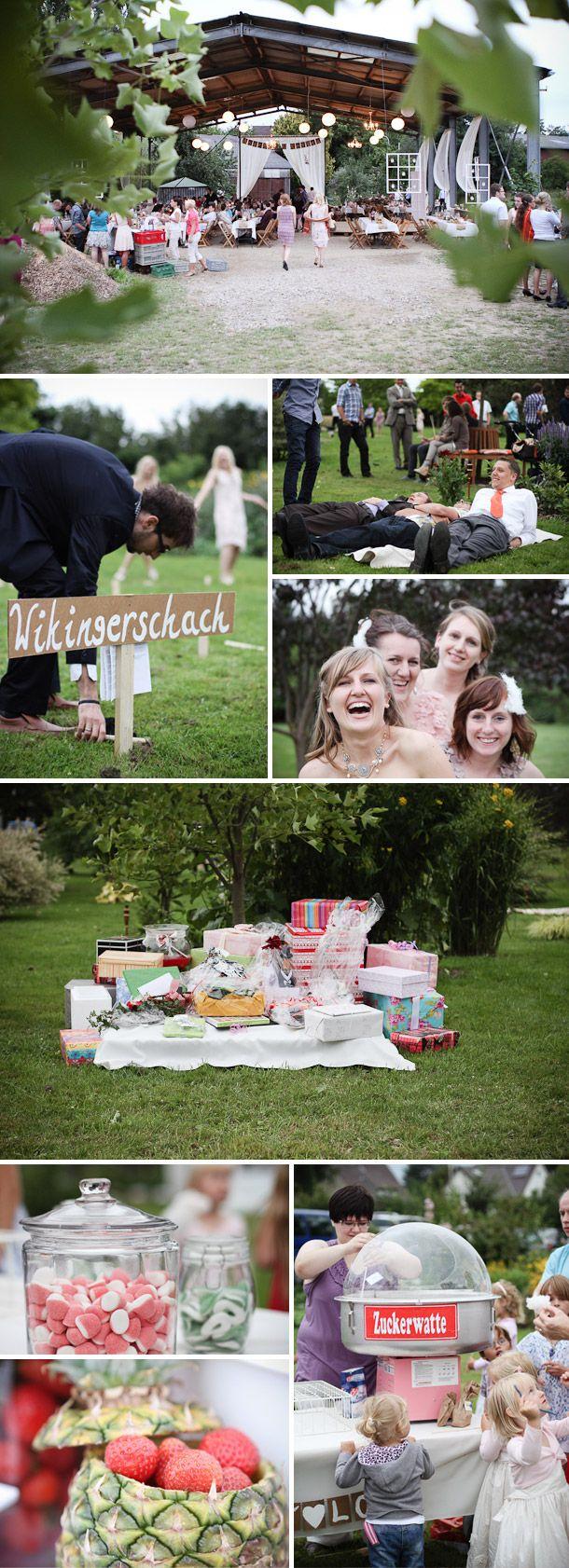 Regina und Andreas DIY-Vintage Hochzeit. yay for wedding swedish cubb game!